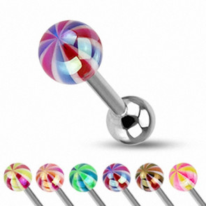 Zungenpiercing Barbell Hantel Metallic Candy Ball