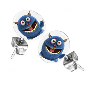 Ohrstecker Ohrringe mit Motiv Comic blaues Monster