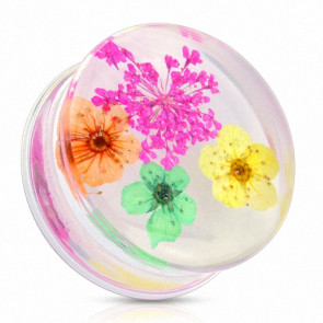 Flesh Plug Double Flared Sommer Blumen Pink