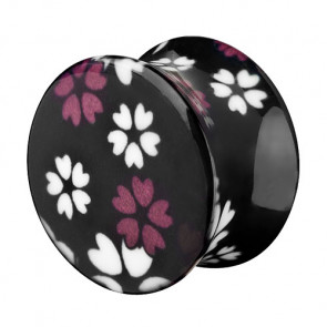 Tunnel Plug Double Flared mit Sommer Blumen