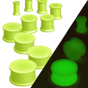 Silikon Plug Double Flared Grün Glow in the Dark