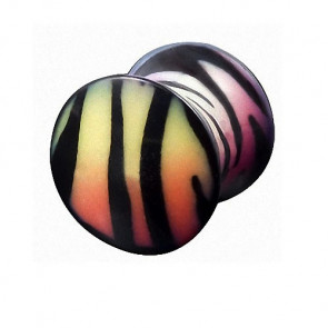 Flesh Ohr Plug Double Flared Rainbow Zebra Style