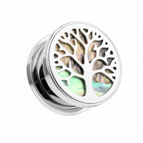 Flesh Ohr Tunnel Piercing Lebensbaum Perlmutt Inlay Tree of Life