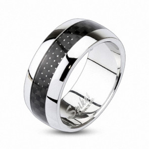 Partner Ring Silber poliert Inlay Carbon Schwarz