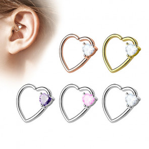 Tragus Ohr Knorpel Piercing Continuous Ring Kristall Herz