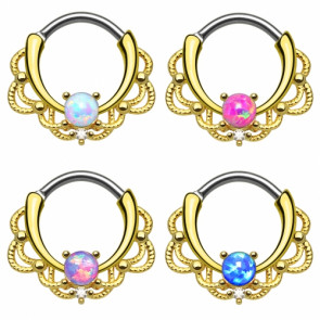 Nasenpiercing Ring Septum Clicker Tribal vergoldet mit Opal