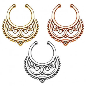 Fake Septum Piercing Ring Nasenpiercing Tribal Halbmond