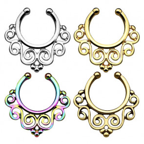 Fake Septum Piercing Vintage Nasenpiercing Blumen Tribal