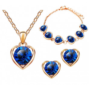 Schmuck-Set 3-teilig Roségold IP mit Swarovski Elements in Herz Form Blau